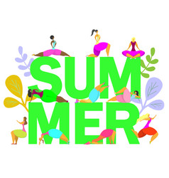 summer fitness poster banner design vector image