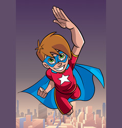 Super boy flying sky background vector