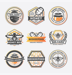 Sweet honey vintage isolated label set vector