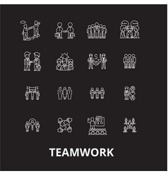 teamwork editable line icons set on black vector image