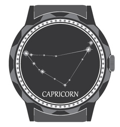 The watch dial with the zodiac sign Capricorn vector image
