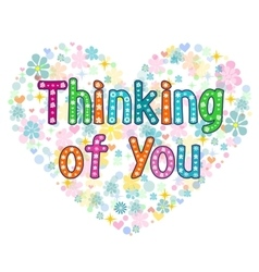 Thinking of you typography lettering card vector