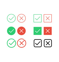tick check mark and decline cross icons for vector image