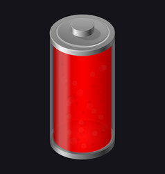 transparent glass battery red color vector image