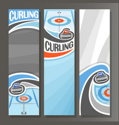 Vertical banners for curling vector