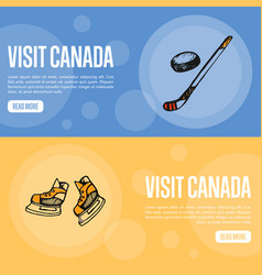 Visit canada touristic web banners vector