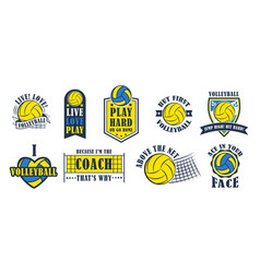 volleyball logo set vector image