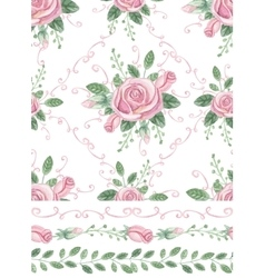 watercolor pink roses bouquet seamless pattern vector image