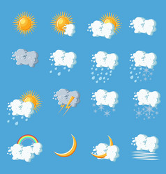 Weather icons in cartoon style on blue background vector