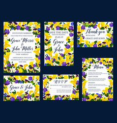 wedding floral card for invitation banner design vector image