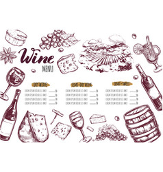 Wine restaurant menu 3 vector