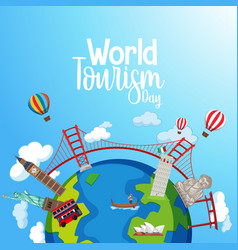 world tourism day logo with famous tourist vector image