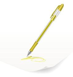 yellow ballpoint pen vector image