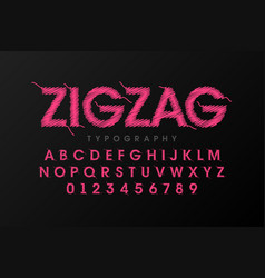 zigzag font stitched with thread embroidery font vector image