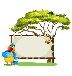 A parrot and a bee near an empty signage vector image