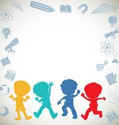 Border design with silhouette children vector image