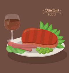 delicious food steak and sausages with pea vector image