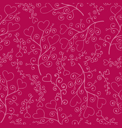 doodle seamless pattern with hand-drawn hearts vector image vector image