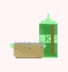 flat shading style icon pixel hotdog and ketchup vector image vector image