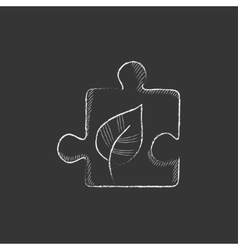 Puzzle with leaf Drawn in chalk icon vector image vector image