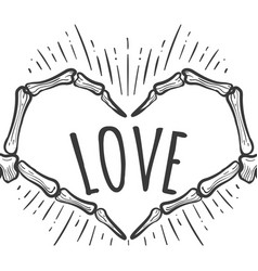 skeleton hand love sign on white vector image vector image
