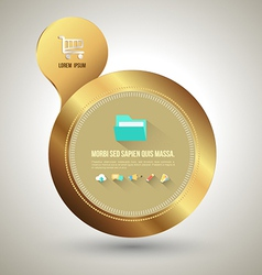 Gold circle banner with icons vector