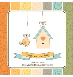 new baby announcement card with chicken vector image vector image