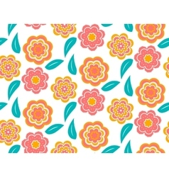 Seamless spring flower pattern on white background vector image
