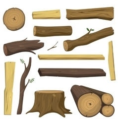 Wooden materials tree logs isolated vector image vector image