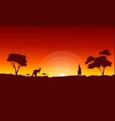 kangaroo with red sky landscape silhouette vector image vector image