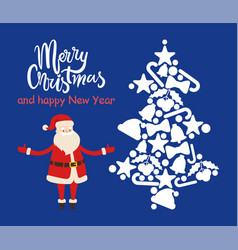 merry christmas santa and tree vector image