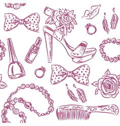 Seamless pattern girls accessories vector image