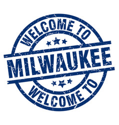 welcome to milwaukee blue stamp vector image