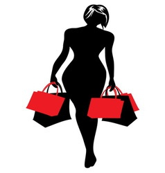 Woman silhouette shopping vector image vector image