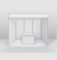 blank indoor trade exhibition booth with counter vector image