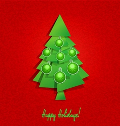 Christmas tree and balls vector image vector image