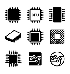 CPU Microprocessor and Chips Icons Set vector image