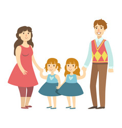 parents and two twin little daughters vector image vector image