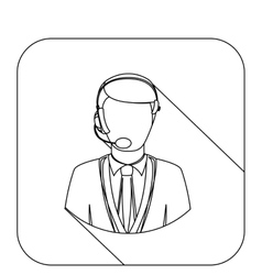 square shape with silhouette men operator with vector image