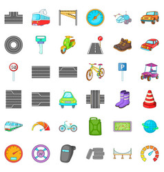 traffic icons set cartoon style vector image vector image