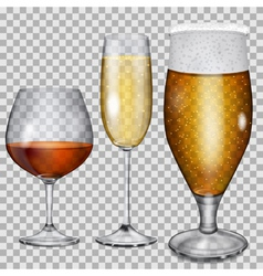 Transparent glass goblets with beverages vector image vector image