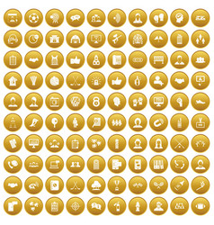 100 team icons set gold vector image