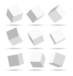 a set of cube icons with a perspective 3d cube vector image