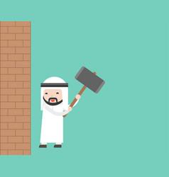 arab businessman holing hammer prepare to vector image