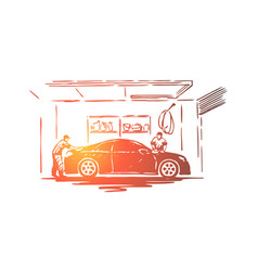 auto care station workers vector image