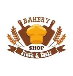 Bakery shop emblem Fresh and tasty bread loaf vector image
