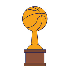 basketball trophy cup championship blue lines vector image