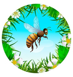 Bee flying in the sky vector image