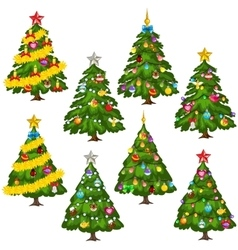 Big set green Christmas trees on white background vector image