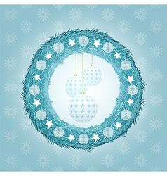 Blue Christmas wreath with baubles vector image